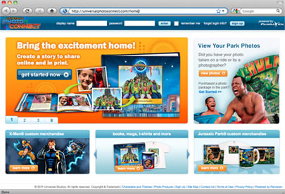Universal's Photo Connect home page